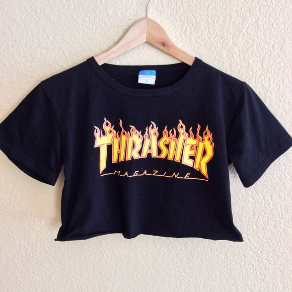Thrasher Flame Crop Top XS S